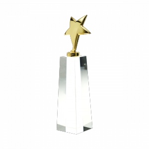Gouden ster award met kristal voetstuk