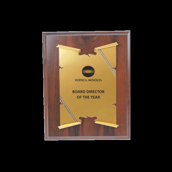 Plaquette met gouden schild plaquette bestellen