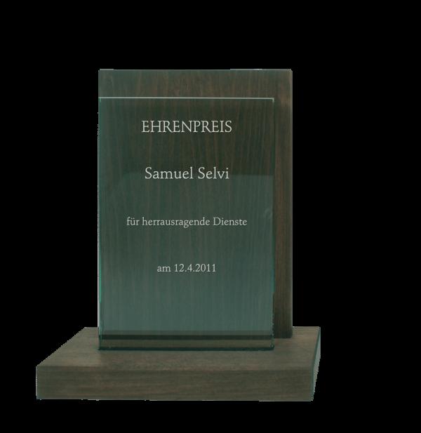 Houten award met glasplaat | DW1
